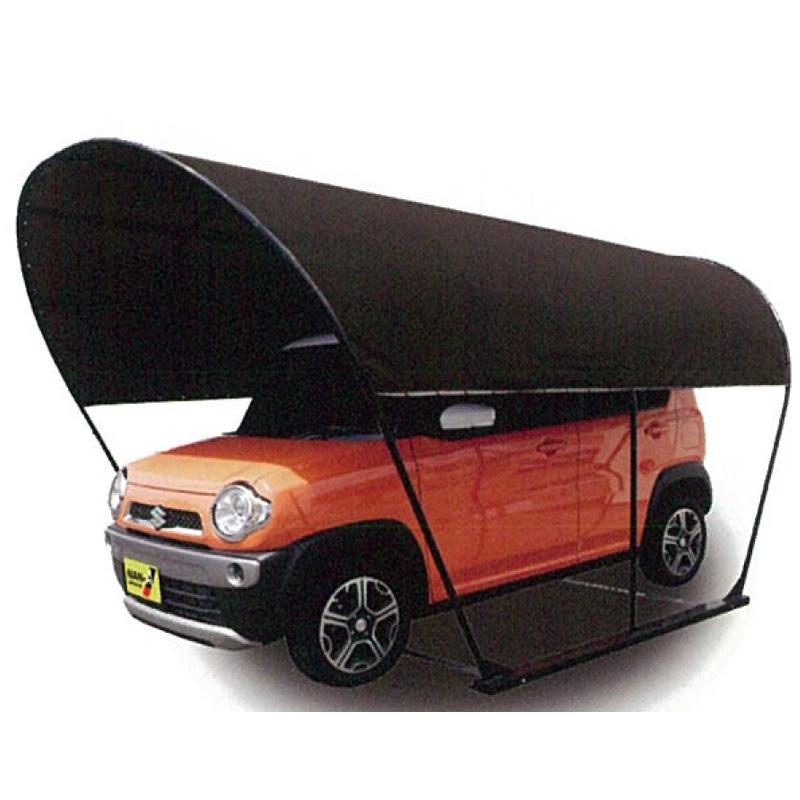 パイプ車庫の新しいカタチ「カーリーフ」 パイプ 車庫 カーゲート カーリーフ ラウンド型 ブラウン PVCターポリン生地 2.5x4x2.3 SB-P 南栄工業 個人宅配送不可 代引不可