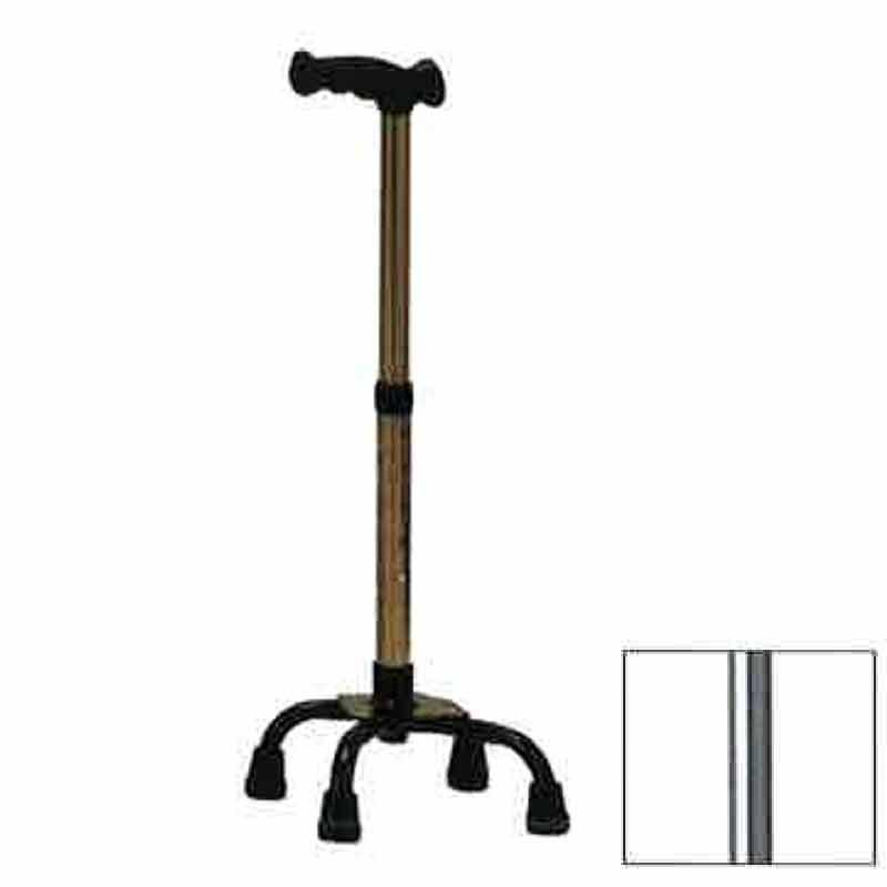 4つ足 杖 機能型クォードケインS スモールベース TQ-405S シルバー 高齢者 歩行補助 リハビリ クリスタル産業 代引不可