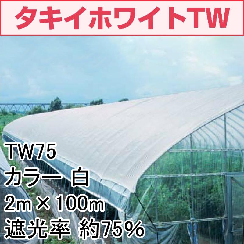 【1本】 2m × 100m 白 遮光率約75% タキイホワイトTW 遮光ネット TW75 寒冷紗 タキイ種苗 タ種 【代引不可】