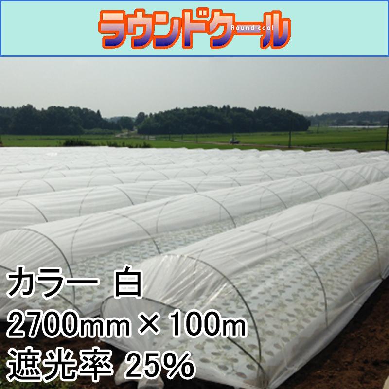 2700mm × 100m 白 遮光率25% ラウンドクール 遮光ネット 寒冷紗 JX ANCI タ種 【代引不可】