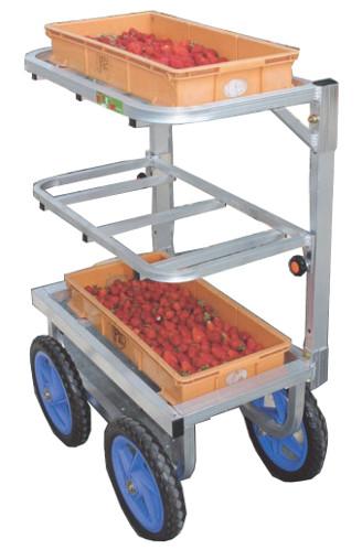 ハラックス 愛菜号 アルミ製 いちご収穫用ワゴン SW-312 3段タイプ(2段に変更可) 防J 個人宅配送不可 代引不可