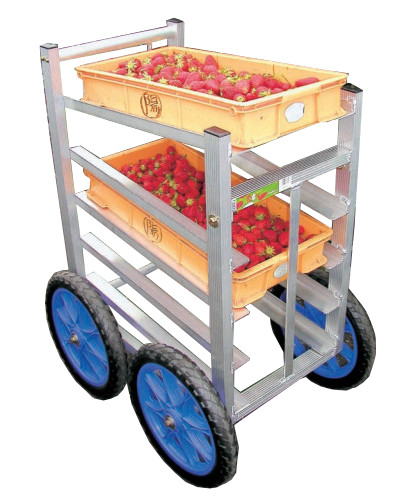 ハラックス 愛菜号 アルミ製 いちご収穫用ワゴン SW-514 5段タイプ 防J【代引不可】