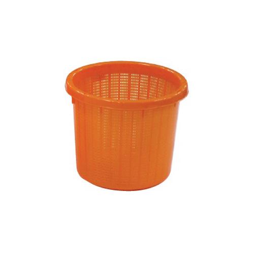 【個人宅配送不可】【20個】丸型 収穫かご オレンジ ベルト付 小 容量約 8L 安全興業 【代引不可】