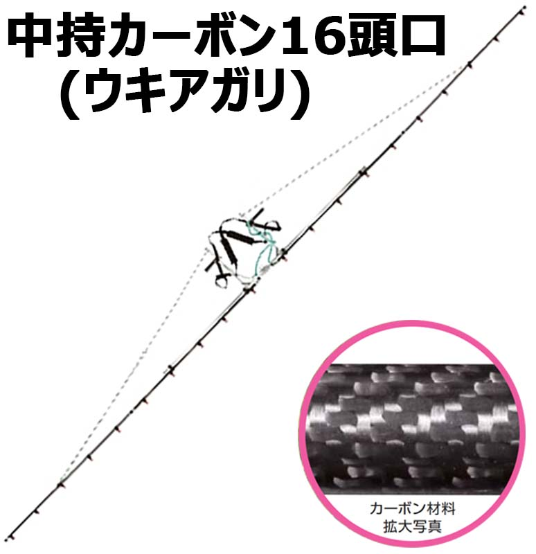 中持 カーボン 噴口 中持 カーボン 16頭口 ( ウキアガリ ) ( G3/8 ) (121777) ヤマホ 工業 防J 【代引不可】