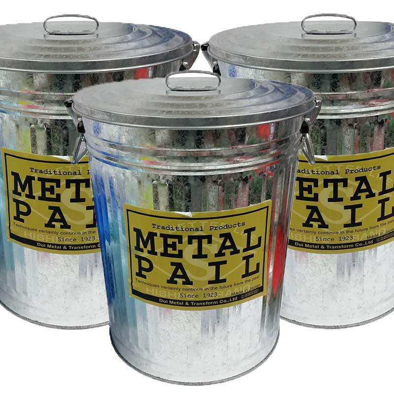【3個】 メタルペール 45型 ごみ箱 整理箱 貯蔵箱 ダストボックス 北陸土井工業 金TD
