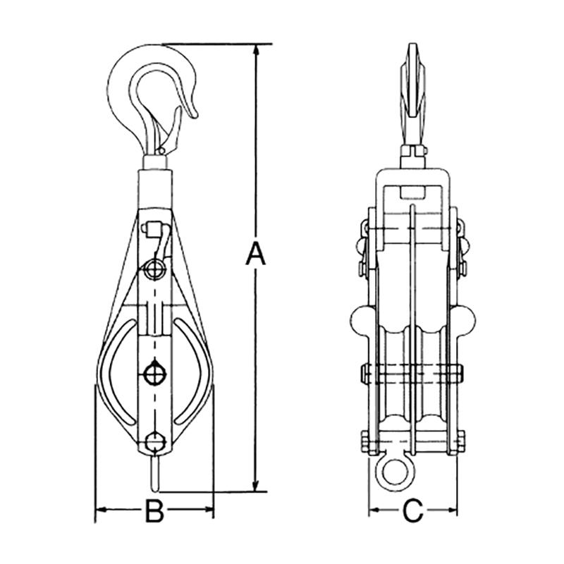 ステンレス滑車 ステンレススナッチ フック型 75×2SS 車径 75mm 使用荷重 500kg 全長A 300mm 横巾B 85mm 厚さC 75mm 溝巾 15mm スリーエッチ HHH H
