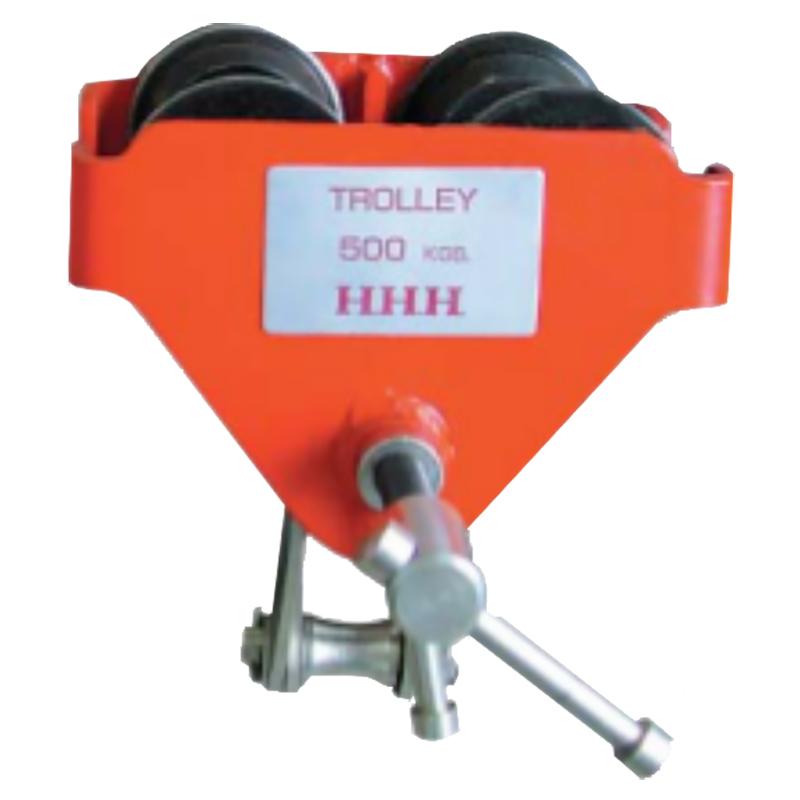 ビームトロリー 型式 BT0.5ton 使用荷重 500 kg 適用ビーム幅 60-150 mm 最小回転半径 0.8 m A 256 mm B 156 mm C 132-184 mm スリーエッチ HHH H