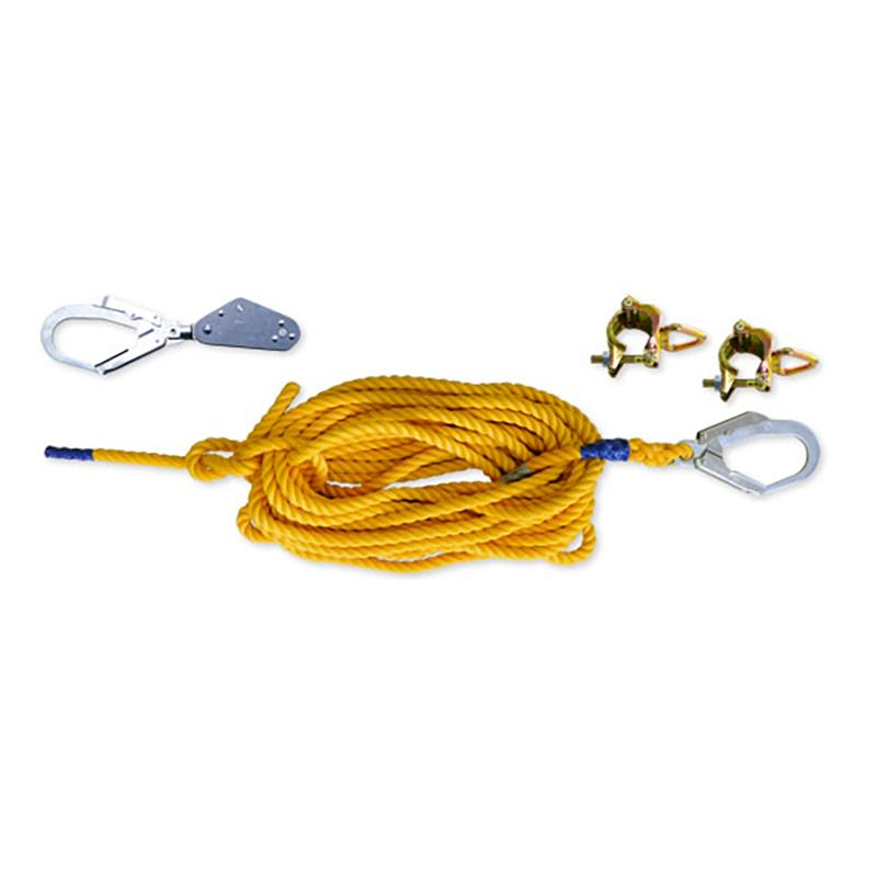 低層住宅用親綱セット 親綱緊張器FS型1個 親綱ロープ直径16mm×15m 1本 リング付クランプ2個 123 伊藤製作所 アミD