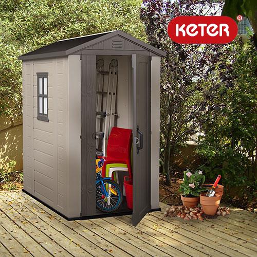 【個人宅配送不可】 keter ケター ファクター 4×6 樹脂製 物置き 倉庫 129.5×189×高216.5cm アR【代引不可】