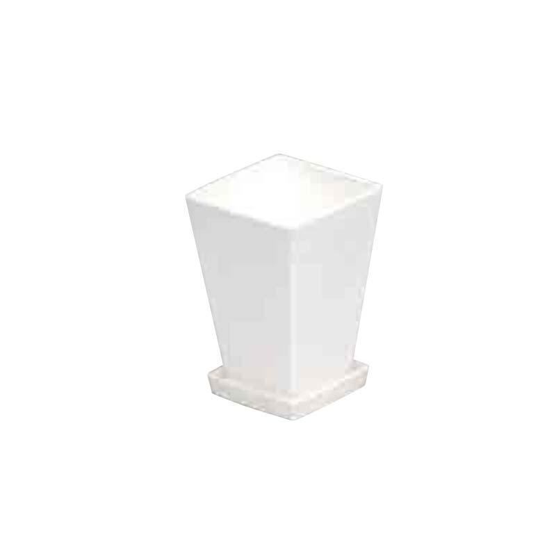 【252個】 #1433 プラスチックポット KLシリーズ 鉢と皿セット 4寸 白 縦100mm 横100mm 高さ145 鉢 明和 明W 【代引不可】