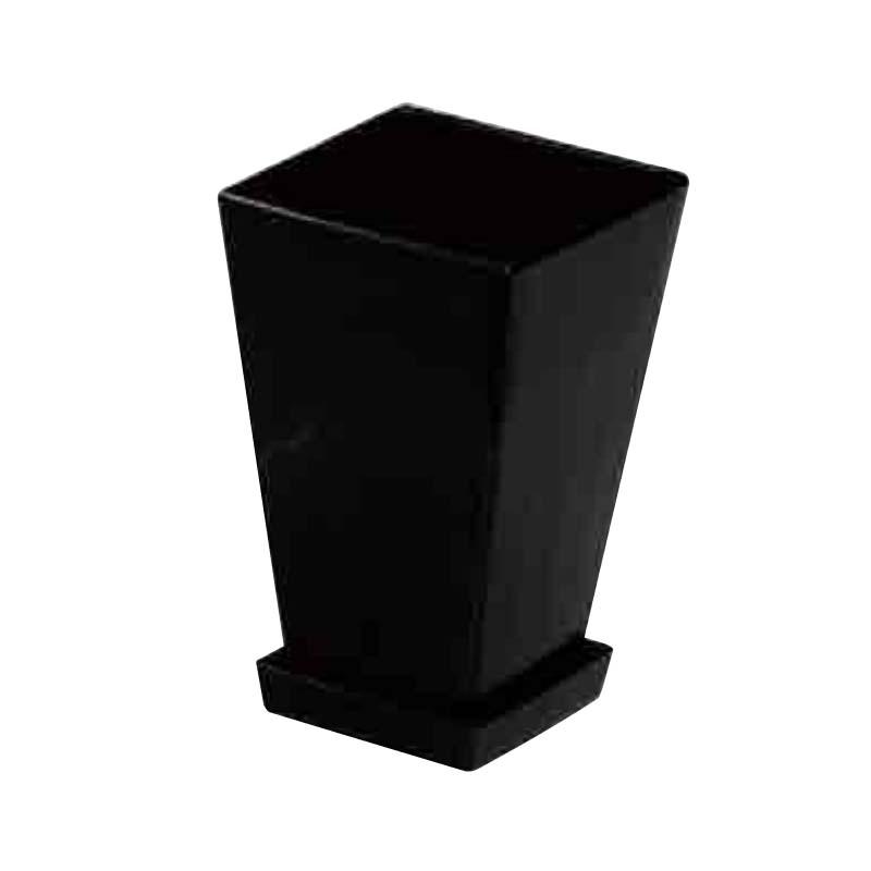 【42個】 #1432 プラスチックポット KLシリーズ 鉢と皿セット 7寸 黒 縦155mm 横155mm 高さ245鉢 明和 明W 【代引不可】