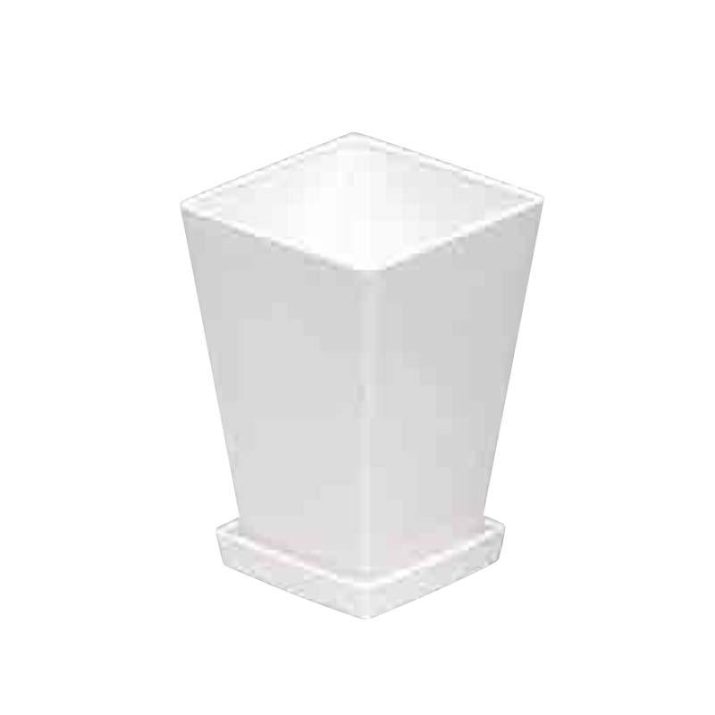 【42個】 #1432 プラスチックポット KLシリーズ 鉢と皿セット 7寸 白 縦155mm 横155mm 高さ245鉢 明和 明W 【代引不可】