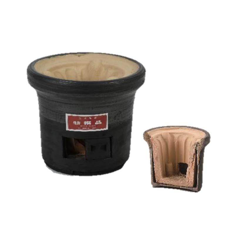 【3個】 三河焼 黒木炭コンロ 黒 SU0004 径270mm 高さ245mm 炭火コンロ 七輪 シN
