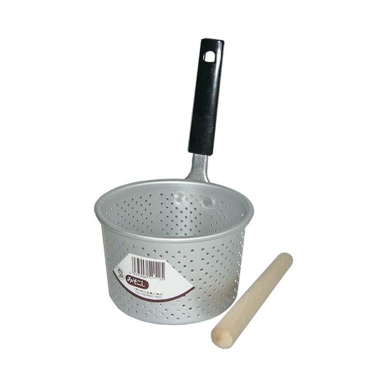 アルミのキッチンウェア 軽くて使いやすい定番商品 アルミ製 正規認証品 新規格 みそこし 小 レンギ付 前川金属工業所 レトロ 味噌こし 味噌漉し ショップ 金TD