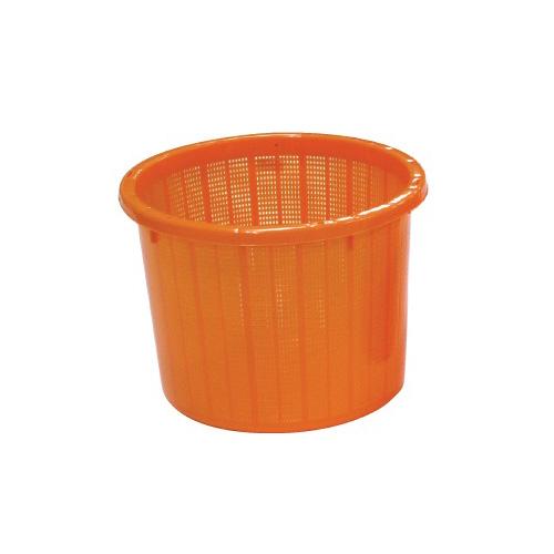 【個人宅配送不可】 【20個】丸型 収穫かご オレンジ ベルト付 大 容量約 20L 安全興業 【送料無料】 【代引不可】