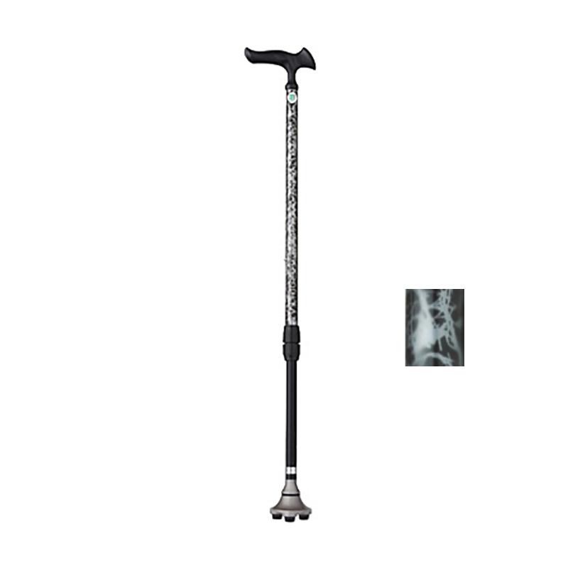 杖 かるがも3ポイントステッキ 伸縮式 バーズアイシルバー 握りやすい 敬老の日に WB3825 SGマーク フジホーム Lク 【送料無料】 【代引不可】