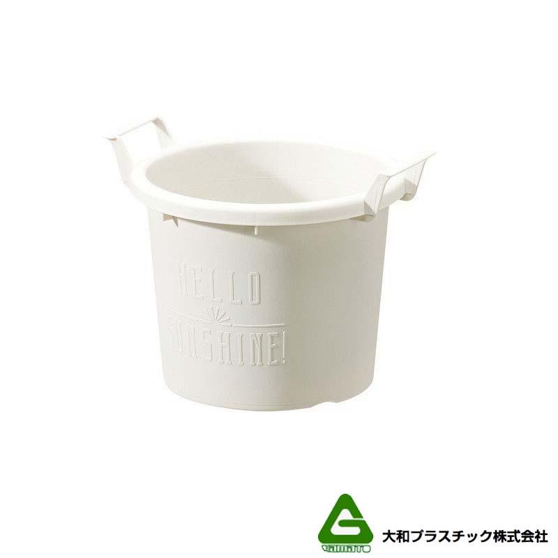 [90個] グロウコンテナ 18型 ホワイト 大和プラスチック 1.8L 200×170×H155mm プランター 丸型 ポット 白 鉢 タ種 送料無料 代引不可