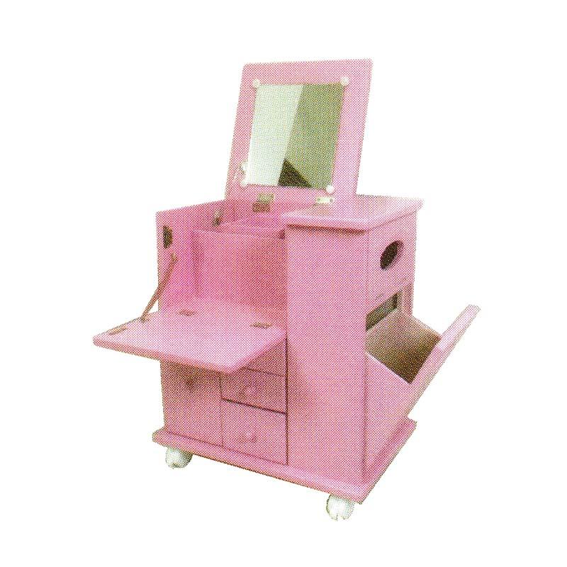 多機能ドレッサー キャスター付き ピンク ST-4731PI 47×31×h475cm 木製 鏡台 化粧台 ナガノ産業 ナG 代引不可