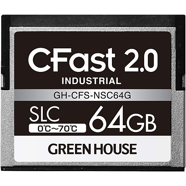 グリーンハウス GH-CFS-NSC64G CFast2.0 SLC 0度~70度 64GB 3年保証【在庫目安:お取り寄せ】