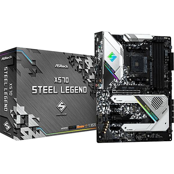 【送料無料】ASRock X570 Steel Legend AMD Ryzen 3000シリーズ CPU(Soket AM4)対応 X570チップセット搭載 ATXマザーボード【在庫目安:お取り寄せ】| パソコン周辺機器 マザーボード マザボ