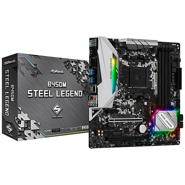 【送料無料】ASRock B450M Steel Legend 【RYZEN3000シリーズ対応】AMD Ryzen AM4対応 B450チップセット搭載 MicroATXマザーボード ※BIOS更新済【在庫目安:お取り寄せ】| パソコン周辺機器 マザーボード マザボ