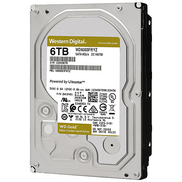 【送料無料】WESTERN DIGITAL WD6003FRYZ WD Goldシリーズ 3.5インチ内蔵HDD 6TB SATA6.0Gb/ s 7200rpm/ class 256MBキャッシュ搭載【在庫目安:お取り寄せ】| パソコン周辺機器 ハードディスクドライブ