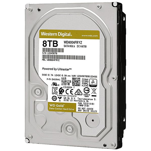 【送料無料】WESTERN DIGITAL WD8004FRYZ WD Goldシリーズ 3.5インチ内蔵HDD 8TB SATA6.0Gb/ s 7200rpm/ class 256MBキャッシュ搭載【在庫目安:お取り寄せ】| パソコン周辺機器 ハードディスクドライブ