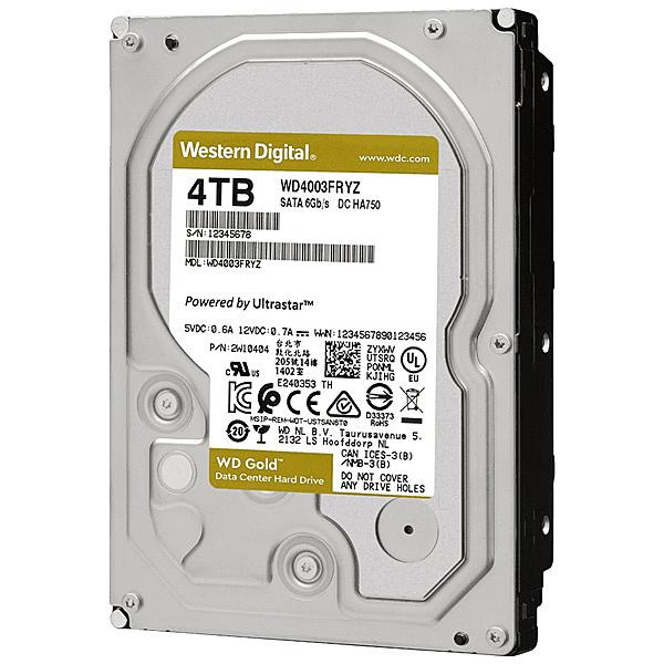 【送料無料】WESTERN DIGITAL 0718037-858098 WD Goldシリーズ 3.5インチ内蔵HDD 4TB SATA6.0Gb/ s 7200rpm/ class 256MBキャッシュ搭載【在庫目安:お取り寄せ】| パソコン周辺機器