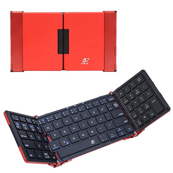 【送料無料】浅沼商会 3E-BKY7-BR 3E Bluetooth Keyboard 【TENPLUS】 3つ折りタイプ ブラック×レッド ケース付属【在庫目安:お取り寄せ】