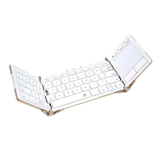 【送料無料】浅沼商会 3E-BKY5-WH 3E タッチパッド付Bluetooth Keyboard 【Touch+】 3つ折りタイプ ホワイト ケース付属【在庫目安:お取り寄せ】