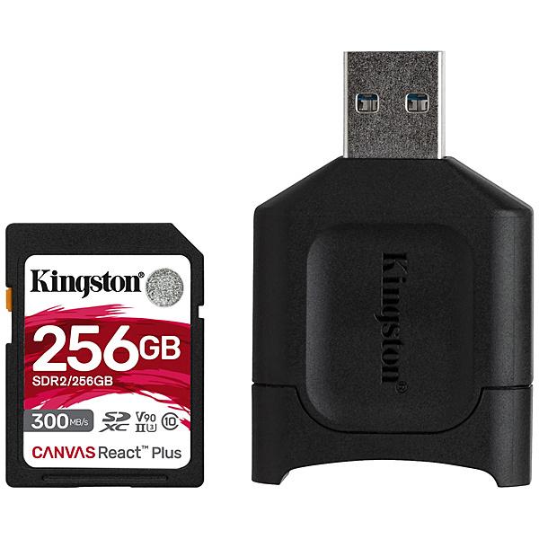 【送料無料】キングストン MLPR2/256GB Canvas React Plus SD Kit 256GB Class 10 UHS-II U3 V90 SDXCカード + MobileLite Plus USB reader Kit【在庫目安:お取り寄せ】