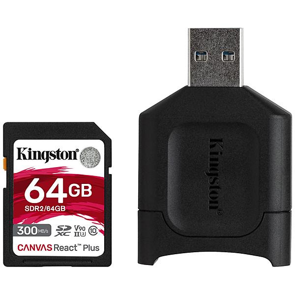 【送料無料】キングストン MLPR2/64GB Canvas React Plus SD Kit 64GB Class 10 UHS-II U3 V90 SDXCカード + MobileLite Plus USB reader Kit【在庫目安:お取り寄せ】