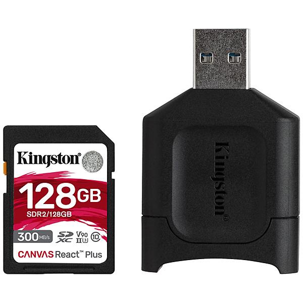 【送料無料】キングストン MLPR2/128GB Canvas React Plus SD Kit 128GB Class 10 UHS-II U3 V90 SDXCカード + MobileLite Plus USB reader Kit【在庫目安:お取り寄せ】