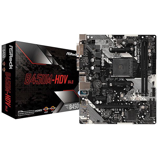 【送料無料】ASRock B450M-HDV R4.0 AMD Ryzen AM4対応 B450チップセット搭載 MicroATXマザーボード【在庫目安:お取り寄せ】| パソコン周辺機器 マザーボード マザボ