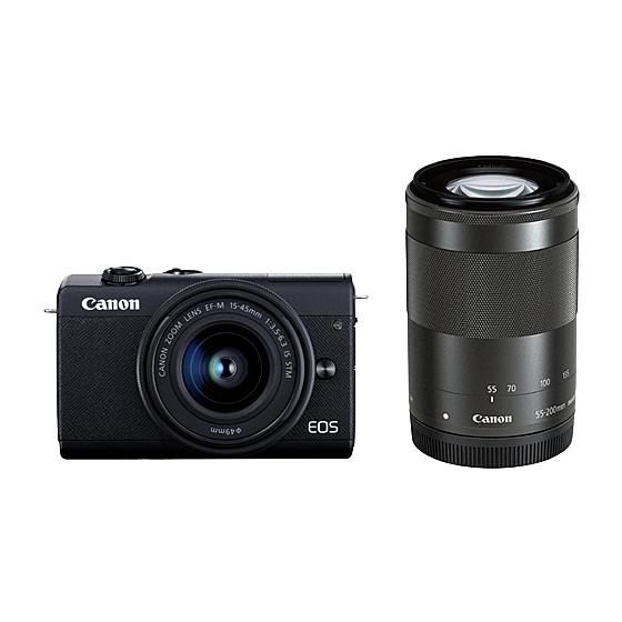 【送料無料】Canon 3699C016 ミラーレスカメラ EOS M200・ダブルズームキット (ブラック)【在庫目安:僅少】| カメラ ミラーレスデジタル一眼レフカメラ 一眼レフ カメラ デジタル一眼カメラ