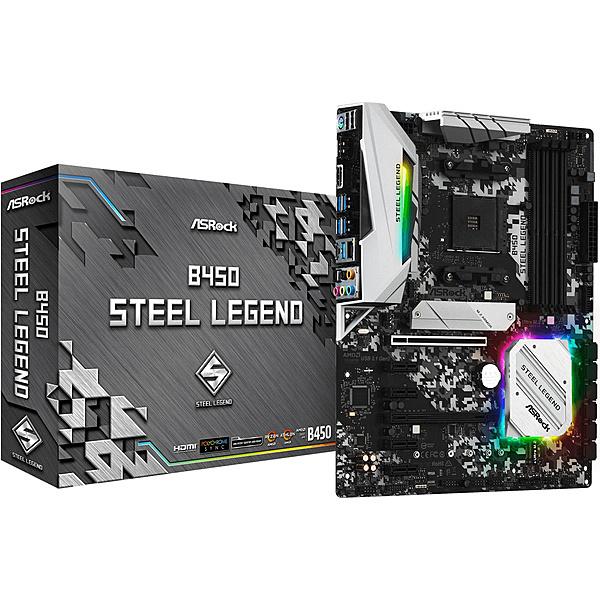 【送料無料】ASRock B450 Steel Legend 【RYZEN3000シリーズ対応】AMD Ryzen AM4対応 B450チップセット搭載 ATXマザーボード ※BIOS更新済【在庫目安:お取り寄せ】| パソコン周辺機器 マザーボード マザボ