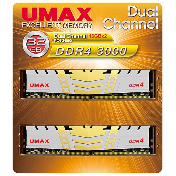 【送料無料】UMAX UM-DDR4D-3000-32GBHS DDR4-3000 32GB(16GB×2) H/ S【在庫目安:お取り寄せ】