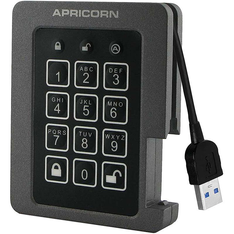 【送料無料】Apricorn ASSD-3PL256-240F USB3.0接続AES-XTS暗号化ポータブルSSD Aegis Padlock SSDシリーズ 240GB【在庫目安:お取り寄せ】| パソコン周辺機器