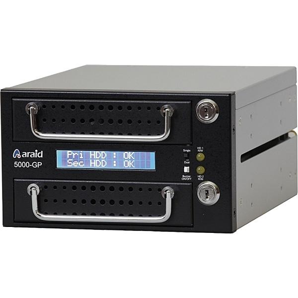 【送料無料】Accordance ARAID5000GP-A/M-B 2bays SATA/ SATA LCD付内蔵型ミラーRAIDユニット RoHS対応品 黒【在庫目安:お取り寄せ】