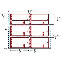 【送料無料】東洋印刷 M11BP タックフォームラベル 11インチ×9インチ 6面付(1ケース500折)【在庫目安:お取り寄せ】| ラベル シール シート シール印刷 プリンタ 自作