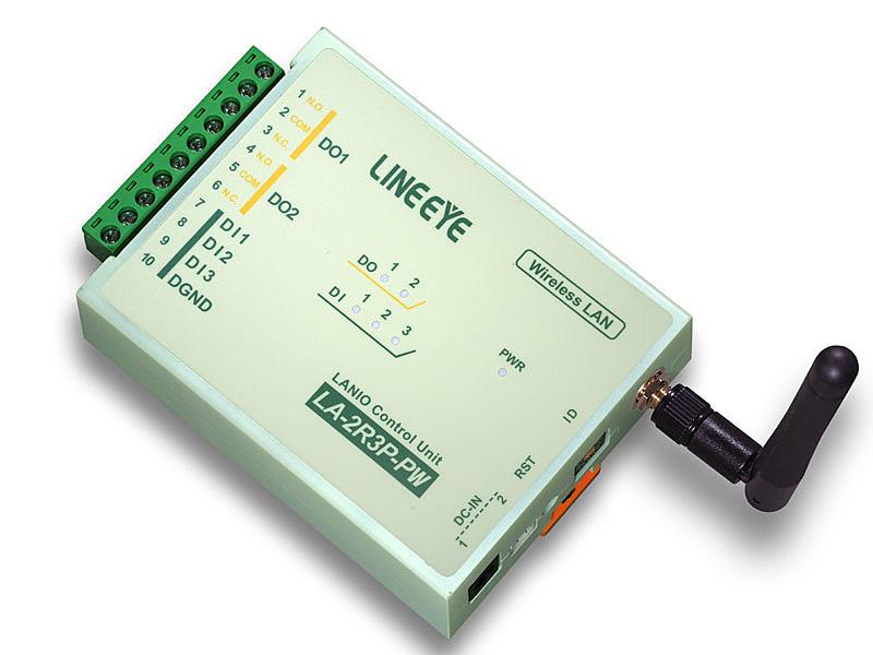 【送料無料】ラインアイ LA-2R3P-PW2 無線LAN接続型デジタルIOユニット リレー(1c接点)2出力/ ドライ接点3入力【在庫目安:お取り寄せ】