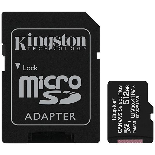 【送料無料】キングストン SDCS2/512GB 512GB Canvas Select Plus microSDXCカード Class10 UHS-1 U3 V30 A1 SDアダプタ付属【在庫目安:お取り寄せ】