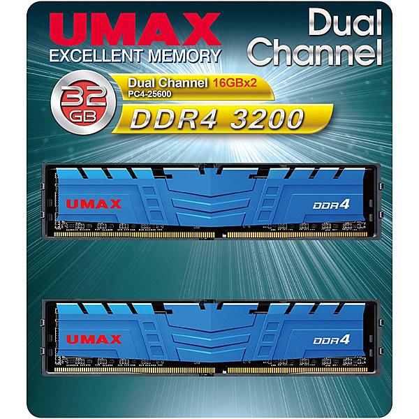 【送料無料】UMAX UM-DDR4D-3200-32GBHS ディスクトップ用メモリー UDIMM DDR4-3200 32GB(16GB×2) H/ S【在庫目安:僅少】