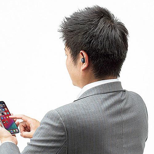 【送料無料】サンワサプライ MM-BTTWS002BK 完全ワイヤレスヘッドセット(ブラック)【在庫目安:お取り寄せ】| パソコン周辺機器 ヘッドセット ゲーミング ゲーム パソコン マイク PC 通話