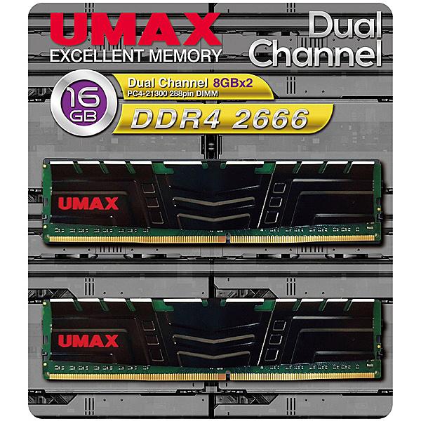 【送料無料】UMAX UM-DDR4D-2666-16GBHS ディスクトップ用メモリー UDIMM DDR4-2666 16GB(8GB×2) H/ S【在庫目安:お取り寄せ】