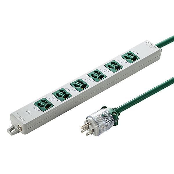 【送料無料】サンワサプライ TAP-HPM6-5G 医用接地プラグ付き電源タップ(3P・6個口・グリーン・5m)【在庫目安:お取り寄せ】| 電源タップ OAタップ コンセントタップ テーブルタップ 電源コード タップ 電源 コンセント コード