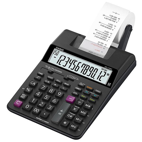【送料無料】CASIO HR-170RC-BK プリンタ電卓【在庫目安:お取り寄せ】  事務機 電卓 計算機 電子卓上計算機 小型 演算 計算 税計算 消費税 税