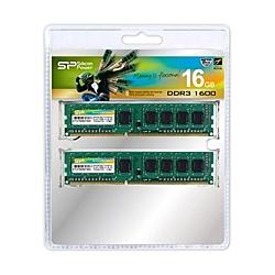 【送料無料】シリコンパワー SP016GBLTU160N22 メモリモジュール 240Pin DIMM DDR3-1600(PC3-12800) 8GB×2枚組【在庫目安:お取り寄せ】