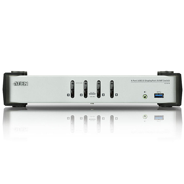 【送料無料】ATEN CS1914 USB 3.0ハブ搭載 4ポートUSB DisplayPort1.1 KVMPスイッチ【在庫目安:お取り寄せ】