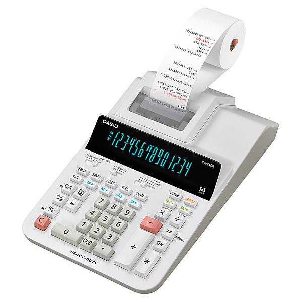 【送料無料】CASIO DR-240R-WE プリンター電卓 加算機方式 14桁【在庫目安:お取り寄せ】  事務機 電卓 計算機 電子卓上計算機 小型 演算 計算 税計算 消費税 税